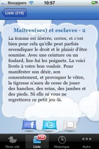 Maitres et esclaves Un extrait de l'application 177 facons d emmener une femme au 7e ciel
